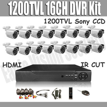 16CH HDMI DVR Kit 1200TVL Sony CCD Outdoor camera Security CCTV System 16pcs Day Night Camera, Support Android, Iphone View(China)