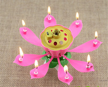 100pcs/lot Musical Lotus Flower  Candles Happy Birthday Romantic Party Gift
