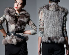 Ladies' Genuine rabbit knitted and fox fur vest YR470 1 x 1 thick knit Top Quality ~wholesale~retail