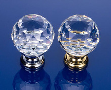 In Stock  High Quality 25-40mm Crystal Glass Handle Door Knobs in brass for Kitchen Cabinet Drawer Wardrobe Cupboard Dresser
