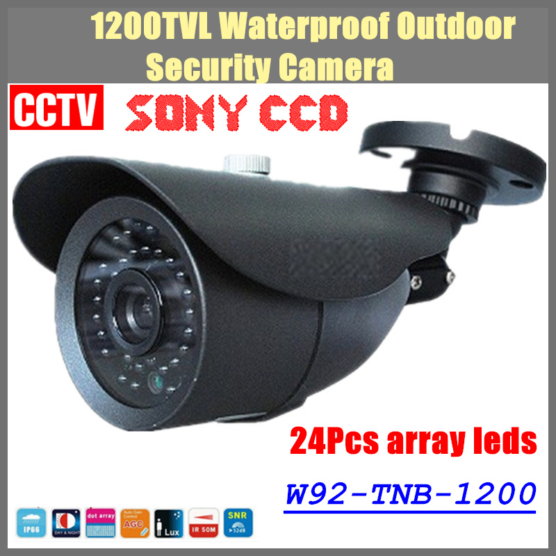 2017 NEW 1/3 SONY CCD HD 1200TVL Waterproof Outdoor security camera IR 80 Meters CCTV Camera with  24Pcs array Leds<br><br>Aliexpress