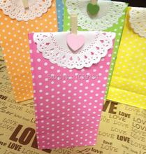 Free Ship Pink Dot Paper Bags with Heart Wooden Clip and Waiting Paper  Kraft Paper Bag Treat Bags Stand Up Bag 300pcs/lot