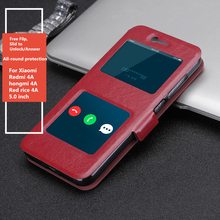 Redmi4A 5.0'' Case luxury PU Leather Window Flip Cover for For Xiaomi Redmi 4A 4 A hongmi 4a Red rice 4a Moblie phone case