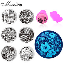 New 60Designs Nail Art Stencils Stamping Template,10pcs/lot Polish Print Nail Image Plate Stamper Scraper Set DIY Manicure Tools
