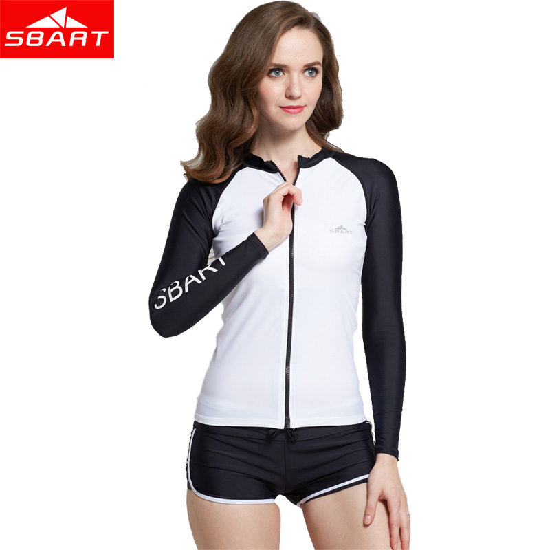 SBART Summer Womens Long Sleeve Swim Rash Guards Windsurfing UV Protection Swimsuit Surfing drifting Snorkeling Wetsuit Jacket<br>