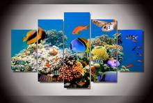 Wall Art 5 Pieces Canvas Prints Marine fish coral color painting Panels Poster Pictures For Living Room
