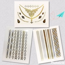 3pcs/ 1 lot cool  Gold Temporary Tattoo hair tattoo Body art make up necklace  Flash tattoo fake Jewelry  tattoo girls tattoos