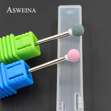 "ASWEINA 1pcs Spherical Ceramic Stone Burr Nail Drill Bit 3/32"" Professional Manicure Electric Drill Accessory Nail Tools(China)"