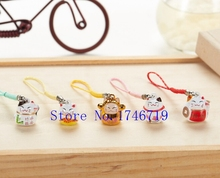 New 50 pcs Cute Japanese cat key chains Cartoon Cell Phone Strap Bell Charm Gift(China)