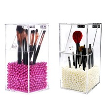 Upgrade Version! 2017 Brush Cosmetic Organizer Clear Acrylic Makeup Organizer Clamshell Acrylic Brush Box Holder With Pearls