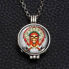 Perfume Aroma Pendant Necklace With Foam 25mm Glass Charms Indian Chiefs Skull Pattern For Man Women & Girl DZ1756