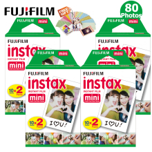 100% Original Fujifilm Instax Mini 8 Film Plain White Frame 80 Sheets For Fuji Instant Mini 9 25 50s Photo Camera + Free Sticker