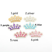 2016 New 20pcs/lot Big Alloy Crown With Czech Crystal Rhinestones Button Gold & Silver Color For Hair Flower DIY Accessory PJ21