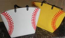 yellow softball white baseball Jewelry Packaging Blanks Kids Cotton Canvas Sports Bags Baseball Softball Tote Bag for Children(China)