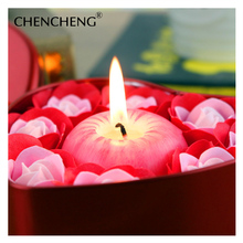 Artificial Flower Rose With Apple Candle Decorative Soap flower Box Wedding Christmas Gift wedding flower Decoration CHENCHENG(China)