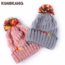 New Ladies Winter Fur Pompom Hat Women Casual Color Skullies Beanie Knitted Cap Bonnet Female Girls Crochet Beanies Pom Poms Hat(China)