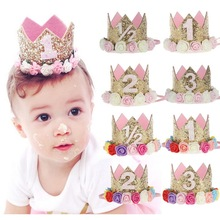 Baby Girl Birthday Party Flower Hats 1st 2nd 3rd Year Princess Crown Party Hats Baby Photo Shooting Hair Accessory