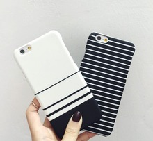 New Black White Stripe Mixed Lovers Matte Hard Plastic Cover Capa Carcasas Coque Hoesje Funda For iPhone 5 5s 6 6s plus 7 8 Case
