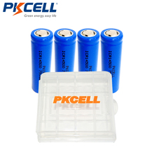 4Pcs*PKCELL 14500 Rechargeable Battery 3.7V 750mAh AA ICR14500 Lithium Li-ion Batteries For Headlight LED Torch+1pcs Battery Box