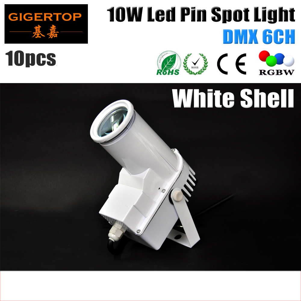 Freeshipping 10XLOT White Shell Housing 10W Led Spot Light DMX 6 Channel 1*10W RGBW 4in1 Color Mixing Disco Pin Spot Stage Light<br>