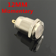 12mm Waterproof Momentary Flat Round Stainless Steel Metal Power Push Button Switch Car Start Horn Speaker Bell Automatic Reset