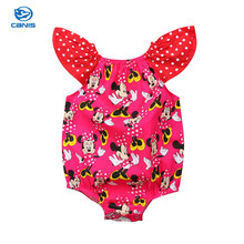 Cute Cartoon Kids Baby Girls Minnie Mouse Polka Dot Ruffle Sleeveless Romper Jumpsuit Sunsuit Outfits Clothes(China)
