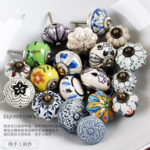DIY handmade ceramic furniture rural style handle kitchen drawer knob and pulls 3pcs/lot(China)
