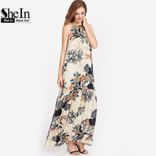 SheIn Tropical Print Frilled Halter Neck Smock Dress Summer Bohemian Dress Multicolor Sleeveless Ladies Maxi Dresses
