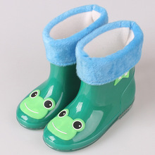 New Boys And Girls Leather Children Rain Snow Boots Cute Cartoon Slip Baby Shoes Overshoes Water Shoes For Children Rubber Shoes