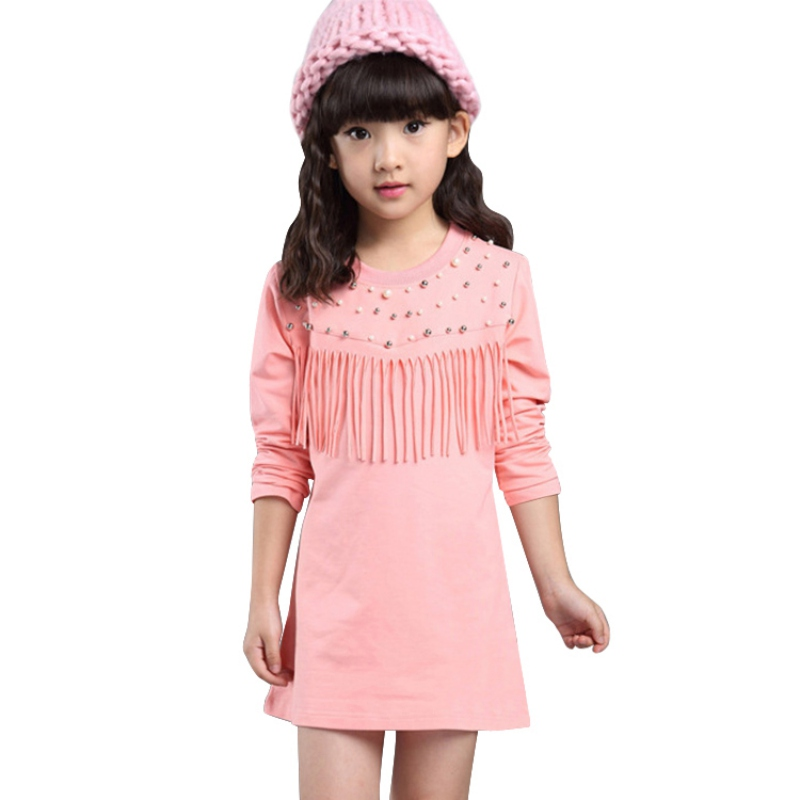 Autumn / Spring girl Tassel casual dress Kids clothes Fashion Long Sleeve O Neck Beading Dresses<br><br>Aliexpress