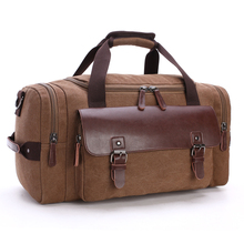 Chuwanglin Casual fashion male canvas travel bags new Genuine leather Duffle bag Pure color large capacity men handbag
