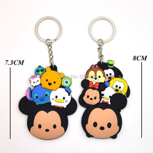 Free Shipping 2 Styles Mickey Minnie Mouse Stitch Goofy Dog Daisy Keychain Action Figures Toys Christmas Gift