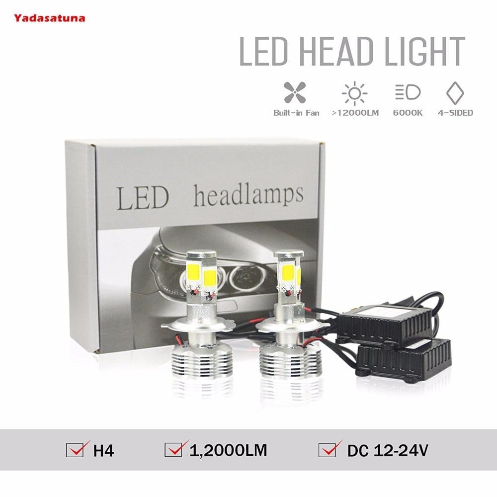 2*Super Bright 120W COB LED Chip 12000 Lumens Car Motor Headlight Fog Lights Bulb Conversion Kit 9003 H4 HB2 6000K Xenon White<br>