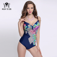High Quality One Piece Monokini Swimsuit for Women Swimming Suit Fat Bathingsuit Ladies Print Big Bust Swimwear Plus Size L-4XL(China)