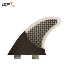ISF free shipping hot sale carbon fiber black innegra fcs surfboard fins thruster quilhas fcs surf pranchas de surf fins 3 pcs