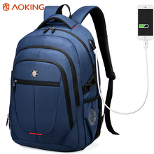 Aoking External USB Charge Computer Bag Polyester Notebook Backpack Men Women Waterproof Laptop Backpack College Students Bag(China)