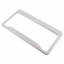 Steel Metal Noble Luxury White Silver Bling Glitter Crystal Car License Plate Frame