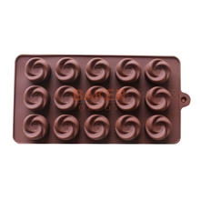 Silicone Ice cube 15 lattices rose flower shape swirls chocolate molds cake moulds SICM-115-17