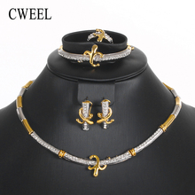 CWEEL Jewelry Sets For Women Fashion Jewellery Sets Nigerian Wedding African Beads Jewelry Set Gold Color Necklace Earrings Set(China)
