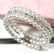 2016 Trendy 2-Layer Imitation Pearls Bangle Bracelet Multi-layer Crystal Bangles for Women Sister Gifts