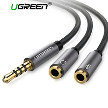 Ugreen Audio Cable 3.5mm Jack Microphone Splitter cable 1 Male to 2 Female Jack 3.5 Extension Aux Cable Adapter for Phone Latpop