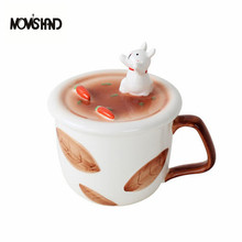 MOM'S HAND 350ML Hand Painted Ceramic Animal Mug Cute Creative Loves Cup With Mobile Phone Support Cup Cover(China)