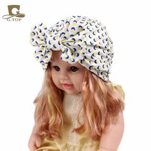 Girls vintage big bow Headbands fruit pattern kids Hat Girl Soft Cute Turban kids beanie Knotted hair band(China)