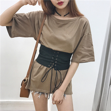 Sexy Belt Strings Up Basic T Shirt Women Tops Summer Ladies Tee Shirt Femme Chemise Fashion Camiseta Feminina Camisa Mujer