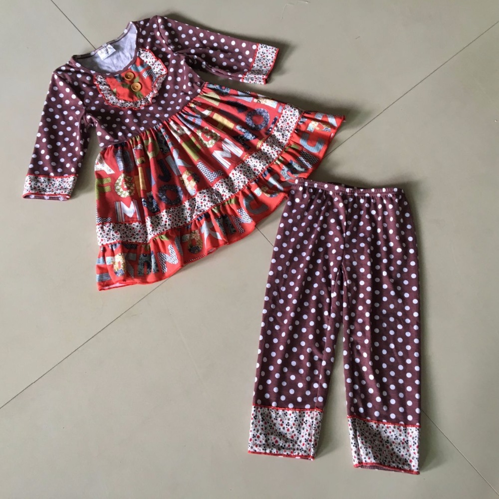 Hot sale kids style Summer and Autumn Infants and Children Same Print Pants Baby Sets of Girls Apparel Accessory<br>