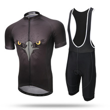 New Men Summer Short Sets Black Eagle Anti-sweat Short Sleeve Shirt Bib Shorts Road MTB Bike Bicycle Suit Ciclismo Bicicleta
