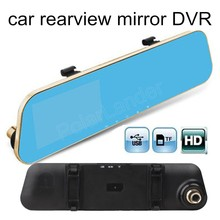 free shipping 4.3 inch Car camera Auto Blue Mirrors Dash Cam Rearview Mirror DVR Full HD 1080P Video Recorder
