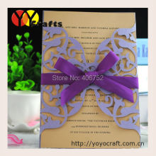 Chinese ideal products lastest design invitation wedding cards with ribbon