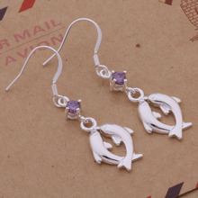 Fashion Silver Jewelry CZ Nice Earrings Dlophin Drop Earrings For Women AE233(China)