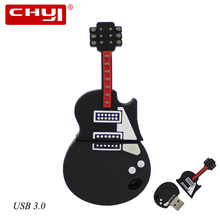 High-Speed USB 3.0 Flash Drive cartoon fancy black Electric Guitar shape pendrive Creative USB memory stick disk pen drive Gift(China)